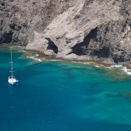 Sailing yacht in turquoise waters